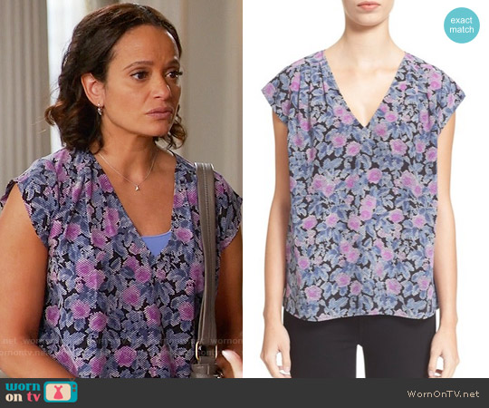 Joie Faela Top in Shadow Lily worn by Judy Reyes on Devious Maids