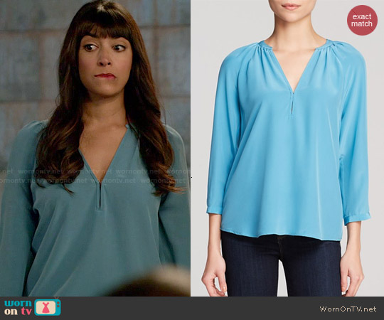 Joie Indarra B Silk Blouse in Lagoon worn by Hannah Simone on New Girl