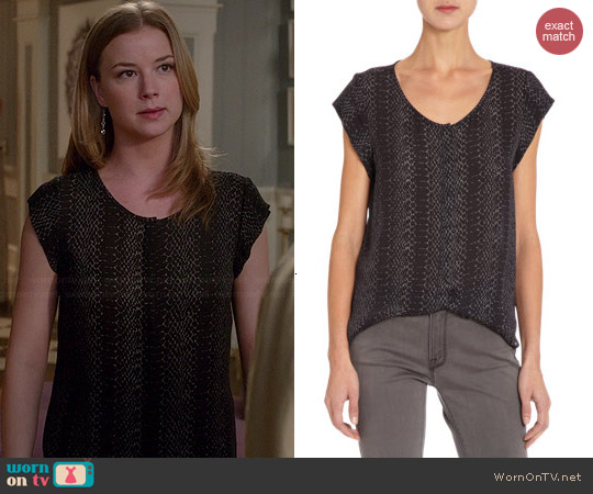Joie Iva Reptile Print Top worn by Emily VanCamp on Revenge