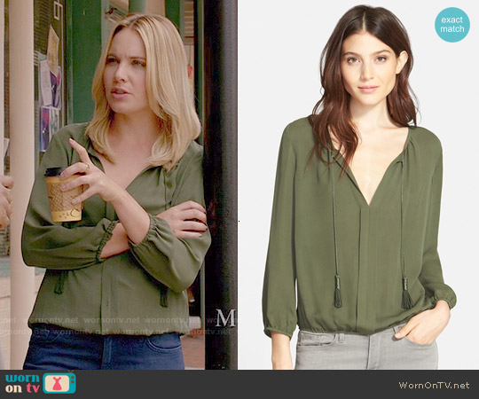 Joie Jacinta Silk Blouse in Military worn by Leah Pipes on The Originals