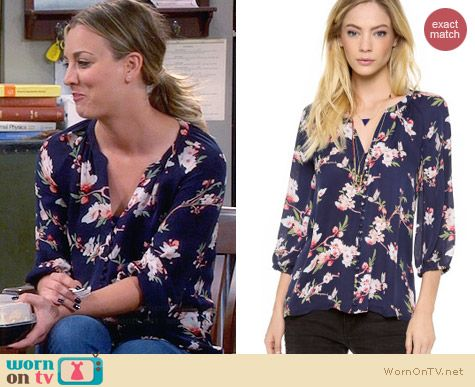 Joie Kade B Blouse in Navy worn by Kaley Cuoco on The Big Bang Theory