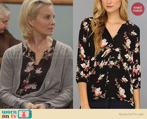 Joie Kade B Blouse in Caviar worn by Monica Potter on Parenthood
