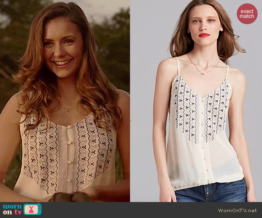 Joie Kaline Embroidered Silk Tank worn by Nina Dobrev on The Vampire Diaries