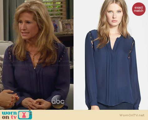 Joie Keyanna Blouse worn by Nancy Travis on Last Man Standing