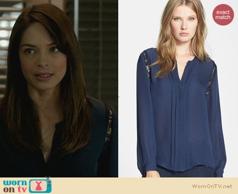 Joie Keyanna Silk Blouse worn by Kristen Kreuk on BATB