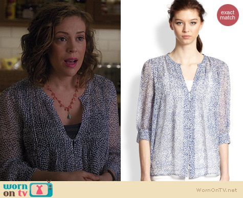 Joie Laurel Blouse in Deep Lapis worn by Alyssa Milano on Mistresses