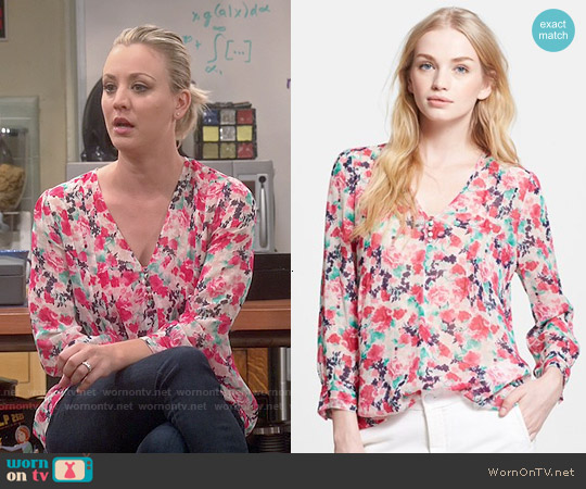 Joie Leala Blouse worn by Kaley Cuoco on The Big Bang Theory