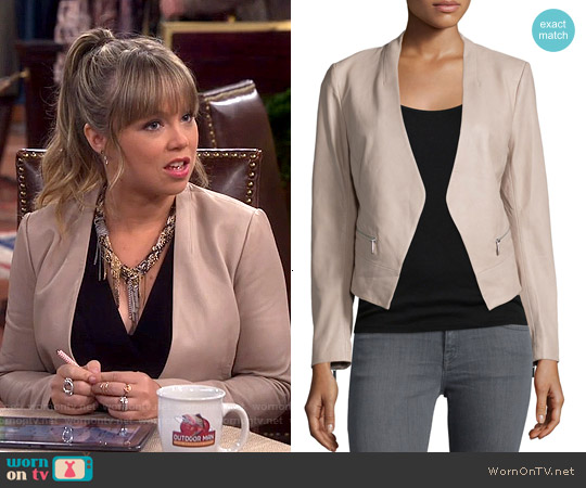 Joie Libertini Collarless Leather Jacket worn by Amanda Fuller on Last Man Standing