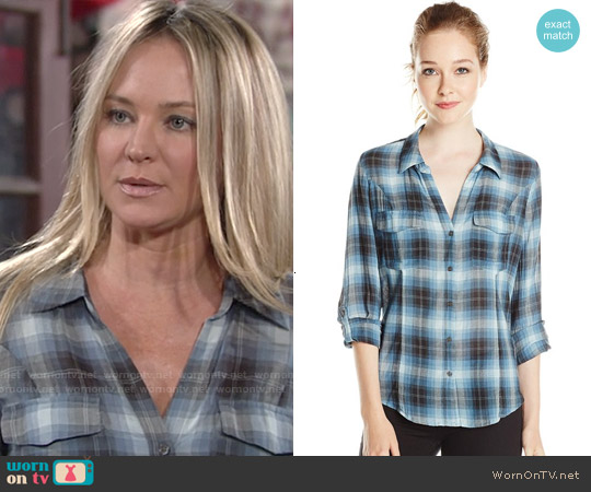Joie Lynn Plaid Shirt in Slate Blue worn by Sharon Case on The Young & the Restless