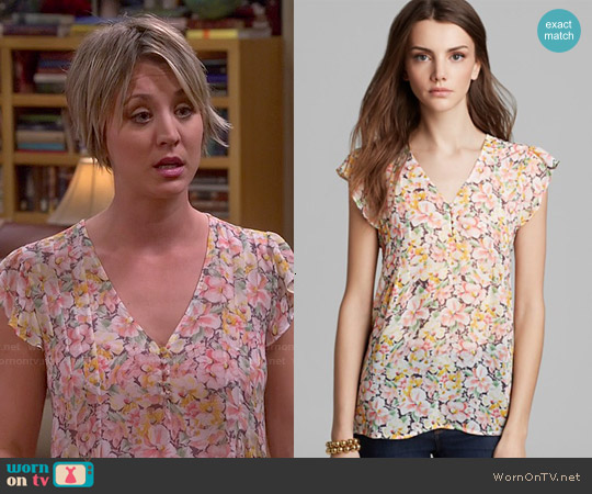 Joie Macy B Floral Blouse in Picnic Pink worn by Kaley Cuoco on The Big Bang Theory