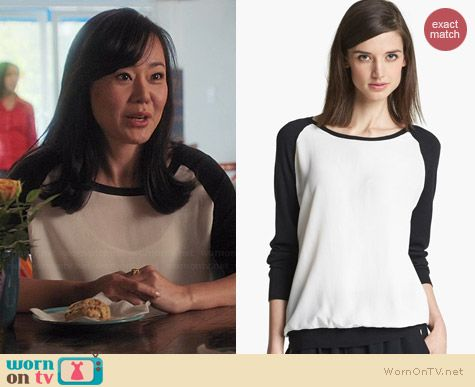 Joie Malena B Mixed Media Sweater worn by Yunjin Kim on Mistresses
