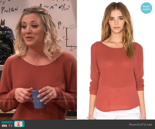 Joie Margeaux Sweater in Burnt Terracotta worn by Kaley Cuoco on The Big Bang Theory