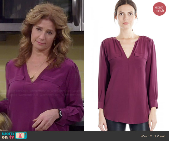 Joie Marlo Blouse in Shiraz worn by Nancy Travis on Last Man Standing
