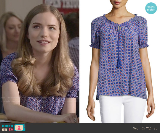 Joie Masha Blouse in Matisse worn by Willa Fitzgerald on Scream
