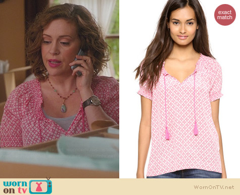 Joie Masha Blouse in Candy Red worn by Alyssa Milano on Mistresses