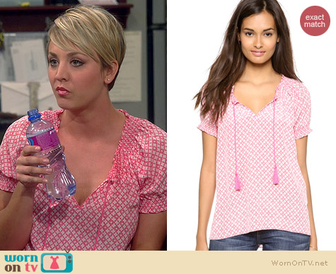 Joie Masha Top in Candy Red worn by Kaley Cuoco on The Big Bang Theory