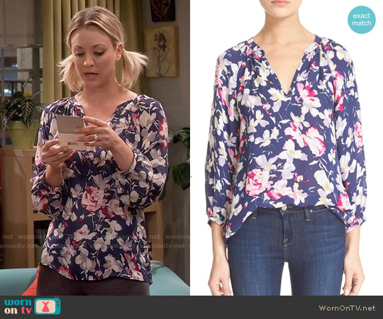 Joie McKenna Floral Silk Top worn by Kaley Cuoco on The Big Bang Theory