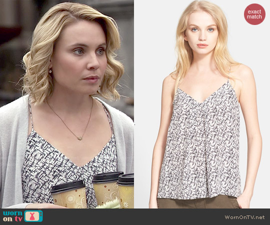 Joie 'Nahlah' Print Silk Camisole in Caviar worn by Leah Pipes on The Originals