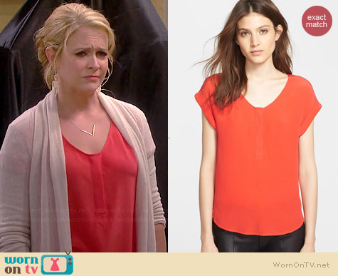 Joie Narnie Blouse in Spicy Orange worn by Melissa Joan Hart on Melissa & Joey