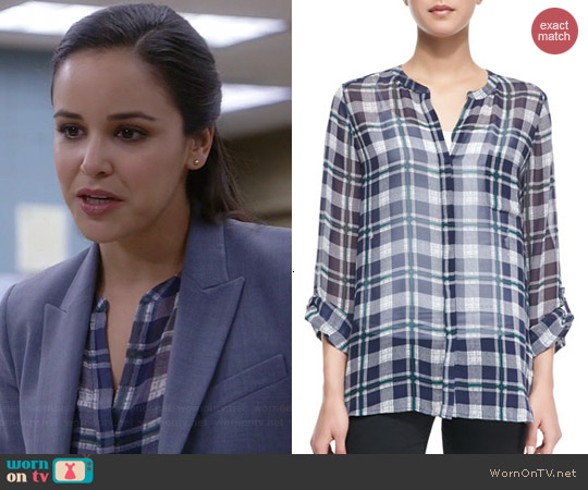 Joie Nura Plaid Blouse worn by Melissa Fumero on Brooklyn 99