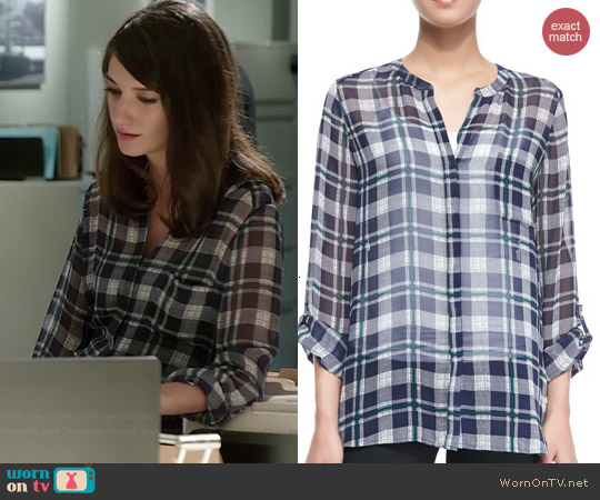 Joie Nura Plaid Blouse worn by Sheila Vand on State of Affairs
