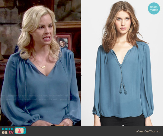 Joie Odelette Blouse worn by Jessica Collins on The Young & the Restless