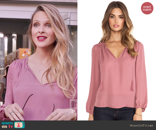 Joie Odelette Blouse in Rouge worn by Beau Garrett on GG2D