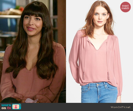 Joie Odelette Blouse in Rouge worn by Hannah Simone on New Girl