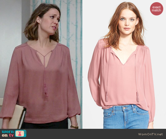Joie Odelette Blouse in Rouge worn by Mandy Moore on Red Band Society