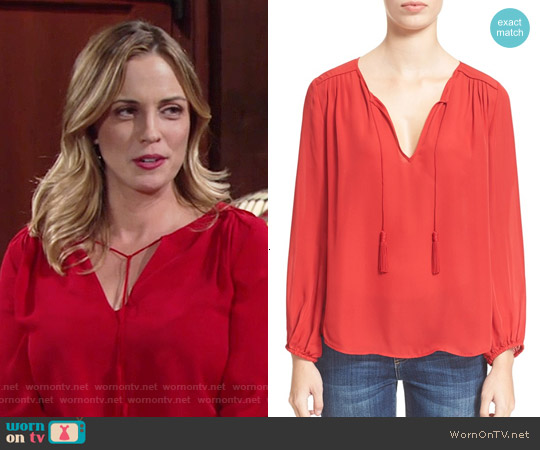 Joie Odelette Blouse in Deep Cerise worn by Kelly Sullivan on The Young & the Restless