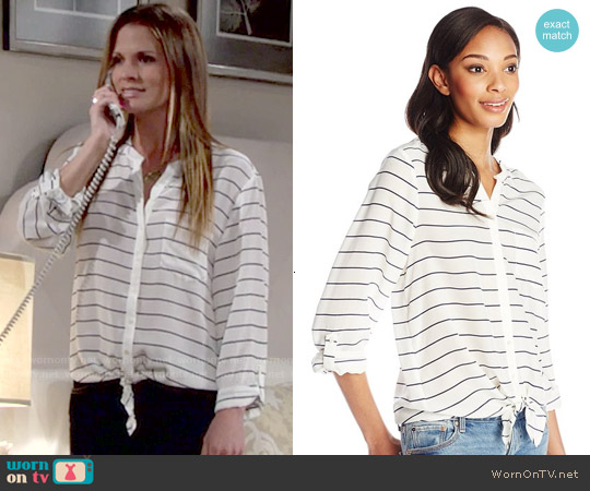 Joie Osei Striped Blouse worn by Melissa Claire Egan on The Young & the Restless