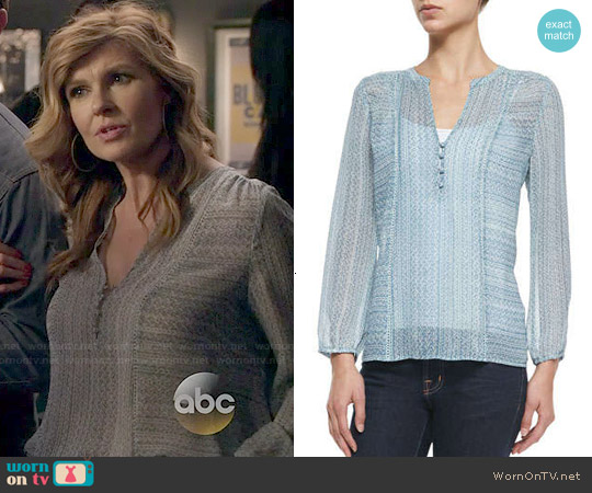 Joie Parmena Blouse in Pale Ocean worn by Connie Britton on Nashville