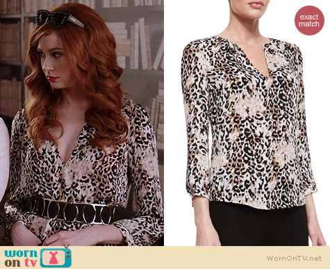 Joie Pearline Leopard Blouse worn by Karen Gillan on Selfie