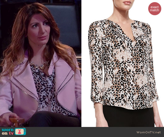 Joie Pearline Leopard Blouse worn by Nasim Pedrad on Mulaney
