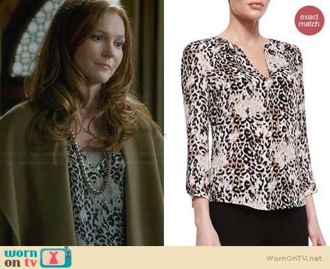 Joie Pearline Silk Leopard Blouse worn by Darby Stanchfield on Scandal