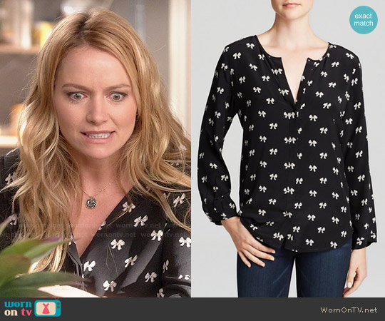 Joie 'Purine' Printed Bow Silk Blouse worn by Becki Newton on Weird Loners