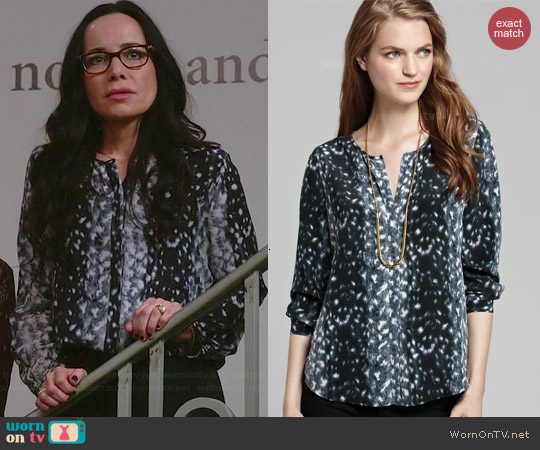 Joie Purine Snow Leopard Blouse worn by Janeane Garofalo on GG2D