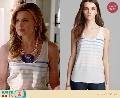 Joie Rain B Dusty Chambray Stripe Tank worn by Brooke D'Orsay on Royal Pains