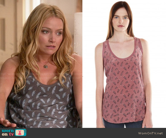 Joie Rain Top in Charcoal Feather Print worn by Becki Newton on Weird Loners