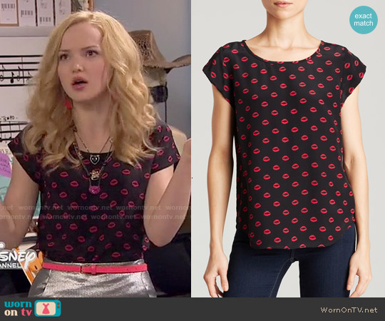 Joie Rancher Lips Print Top worn by Dove Cameron on Liv & Maddie