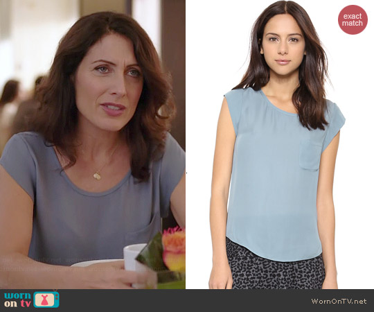Joie Rancher Blouse in Robins Egg worn by Lisa Edelstein on GG2D