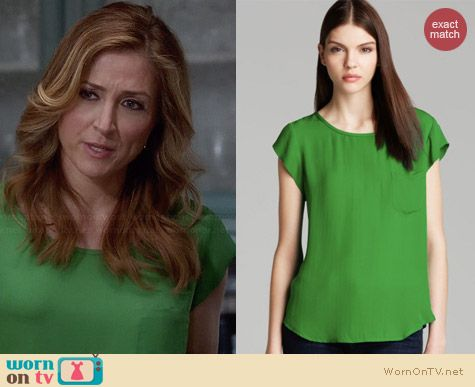 Joie Rancher Top in Camp Green worn by Sasha Alexander on Rizzoli & Isles