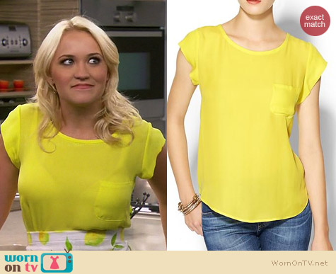 Joie Rancher top in Citrine worn by Emily Osment on Young & Hungry