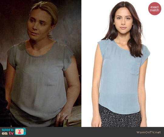 Joie Rancher Top in Robins Egg worn by Leah Pipes on The Originals