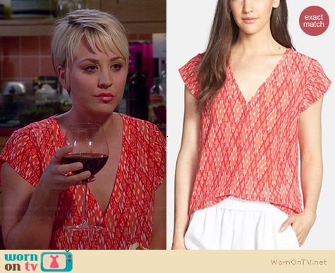 Joie Rubina Blouse in Spiced Coral worn by Kaley Cuoco on The Big Bang Theory