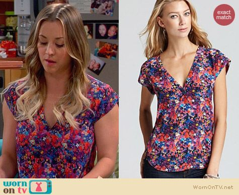 Joie Rubina Floral Top worn by Kaley Cuoco on The Big Bang Theory
