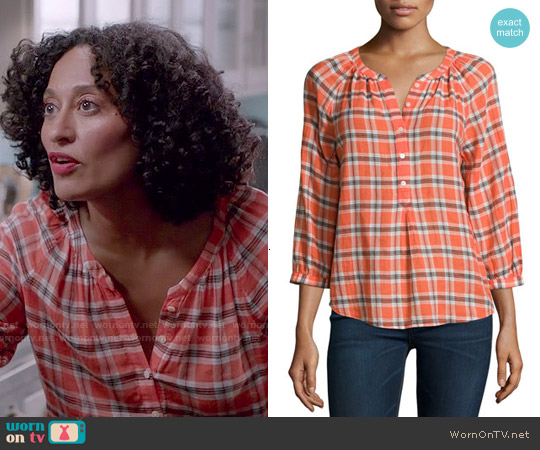 Joie Selma Plaid Blouse worn by Tracee Ellis Ross on Blackish