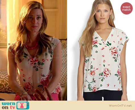 Joie Suela Vintage Rose Blouse worn by Brooke D'Orsay on Royal Pains