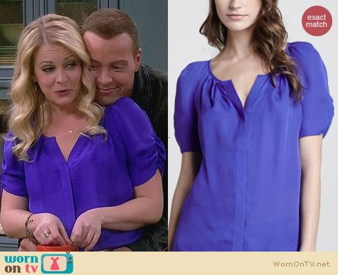 Joie Terabithia Blouse in purple worn by Melissa Joan Hart on Melissa & Joey