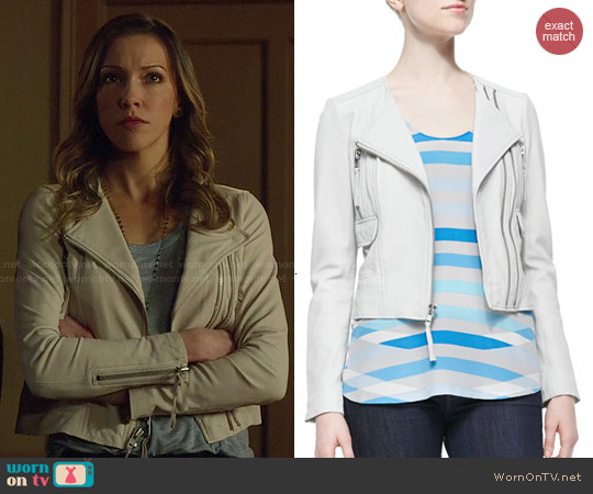 Joie Vivianette Cropped Leather Jacket worn by Katie Cassidy on Arrow